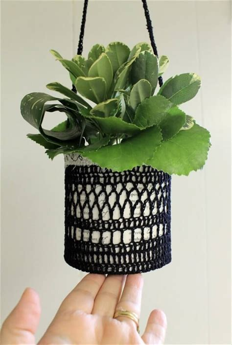 easy crochet flower pot hanging diy