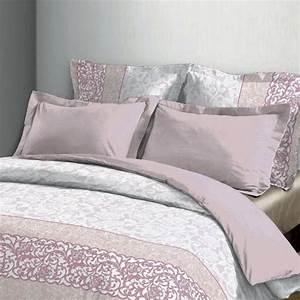 Housse De Couette Grise Et Rose : housse de couette et deux taies 260 cm rosalie rose housse de couette eminza ~ Teatrodelosmanantiales.com Idées de Décoration