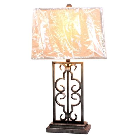 metal table lamp rectangular shade set   dcg stores