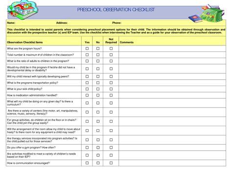 preschool observation examples preschool observation checklist curriculum 140