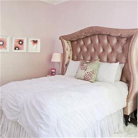 pink velvet headboard pink tufted bed eclectic bedroom coyle interiors