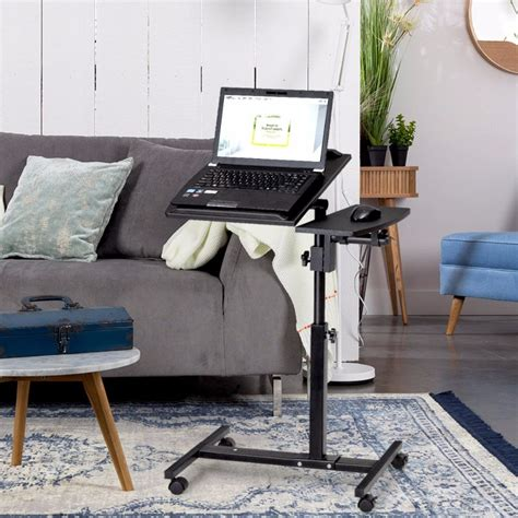 goplus angle  height adjustable laptop desk rolling notebook sofa bed table stand modern home