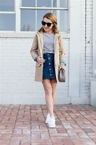Hello Framboise! Stripes Button-Up Denim u0026 the J.Crew Chateau Trench