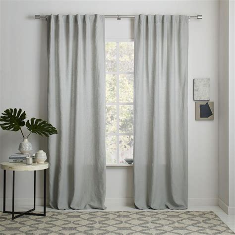 Belgian Flax Linen Curtain  Platinum  West Elm Uk