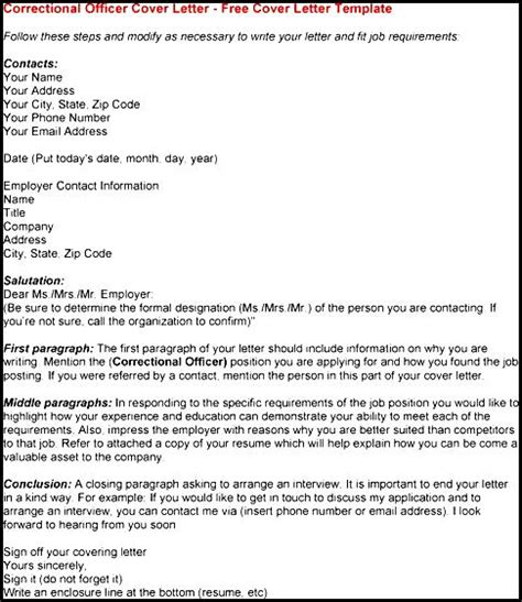 Cover Letter For Correctional Officer by Sle Correctional Officer Cover Letter Free Sles