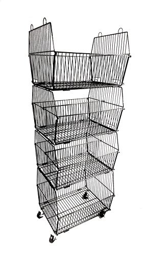 black stacking basket rack wire display bins basket rack