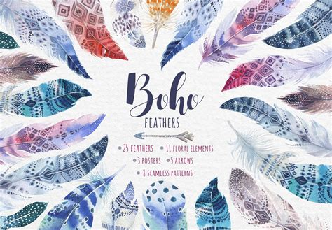 bohemian watercolor feathers tribe illustrations