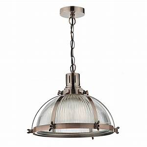 Vintage hanging ceiling pendant with ribbed glass shade
