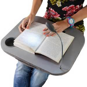 supersoft cushioned portable laptop desk tray with led light cup and pen holder
