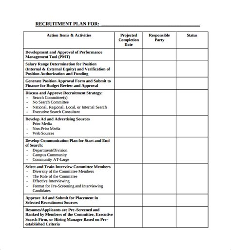Sample Recruiting Plan Template