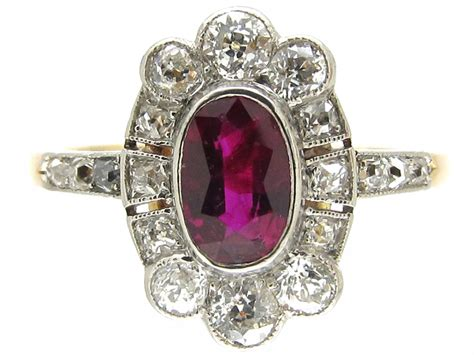 deco ruby cluster ring the antique jewellery company