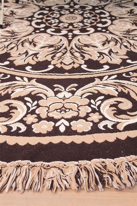 vloerkleed rond 180 cm vintage rond kleed donkerbruin beige 180 cm froufrou s