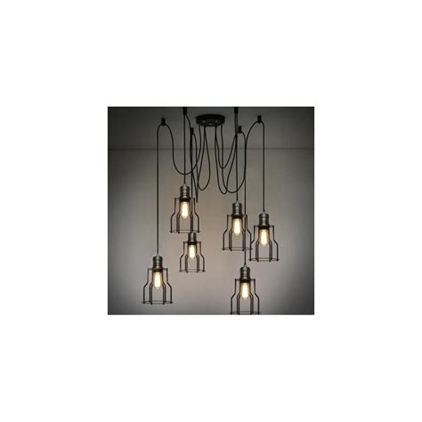 cage industrial light chandelier with edison bulbs by