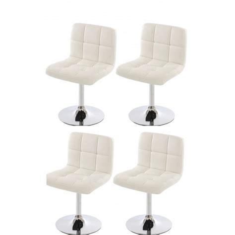 lot de 4 chaises fauteuils de salle 224 manger en simili cuir blanc cds04169 d 233 coshop26