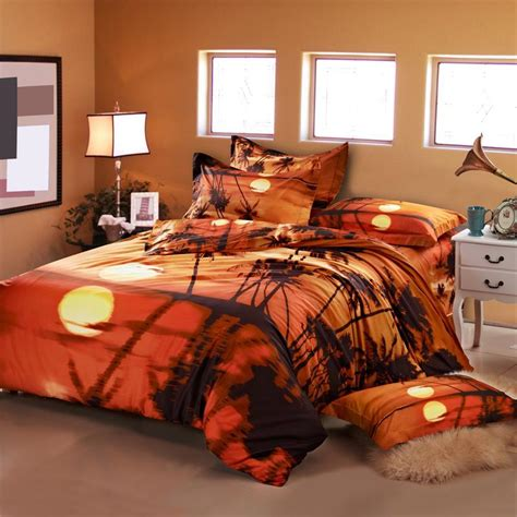 3d oil painting sunset palm tree bedding sets queen size