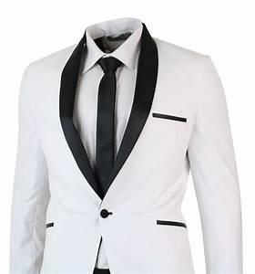 Costume Homme Mariage Blanc : smoking homme blanc noir col ch le costume habill coupe ajust e soir e mariage ebay ~ Farleysfitness.com Idées de Décoration