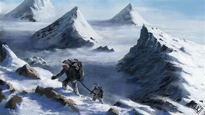 Mountain Snow Fantasy Mountains Height Climbers Wallpapers
