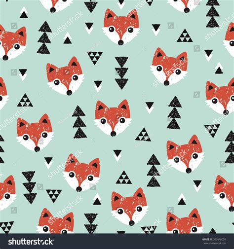 seamless geometric baby fox kids woodland stock vector 307648055 shutterstock