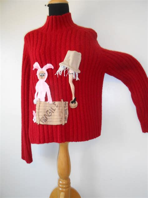 a story sweater with leg l and bunny suit