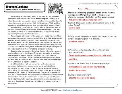 high school reading comprehension worksheets  answer
