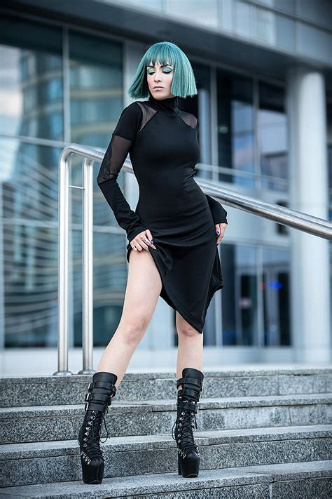 black asymmetric dress minimalist dress long sleeve turtle neck dress extravagant dress