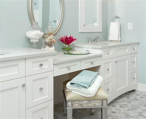 double bathroom vanity with makeup area style guru