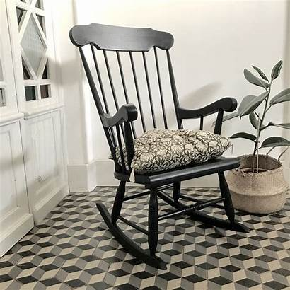 Rocking Chair Bois Noir Brocanteavenue