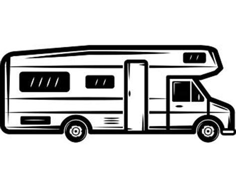 motorhome clipart black and white rv cer clipart etsy