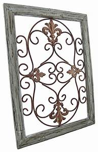 wrought iron fleur de lis wall decor in wooden frame With kitchen cabinets lowes with fleur de lis metal outdoor wall art
