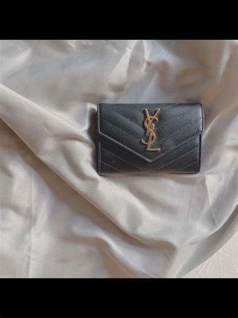 ysl monogram small envelope wallet  grain de poudre embossed leather grey qx glamour