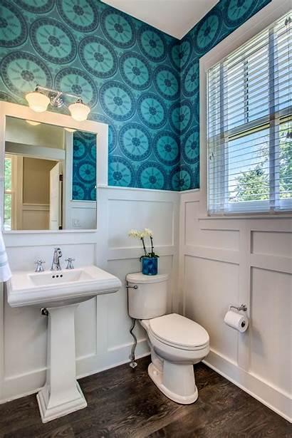 Wainscoting Powder Hgtv Patterned Bathroom Simple Bungalow