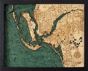 California Nautical Charts Custom Wood Charts Of Fort Myers Cape Coral From Carved