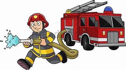Firefighter Cartoon Clipart Firetruck Running Fireman Fire
