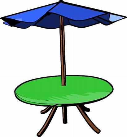 Umbrella Table Clip Patio Clipart Picnic Outdoor