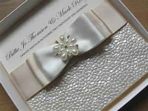 Luxury Handmade Wedding Invitation - Pearls Diamante Satin