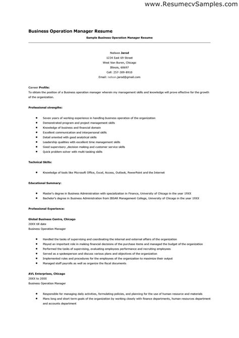 manager business operations resume