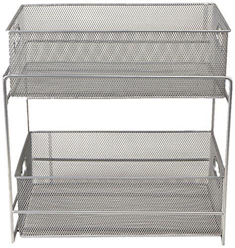 simple houseware  tier sliding cabinet basket organizer drawer silver micromally