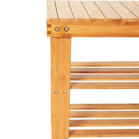 Bamboo Entryway Organizer - shoe rack bench bamboo boot organizer seat storage