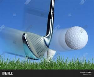 Iron Hitting Golf Ball Image & Photo | Bigstock