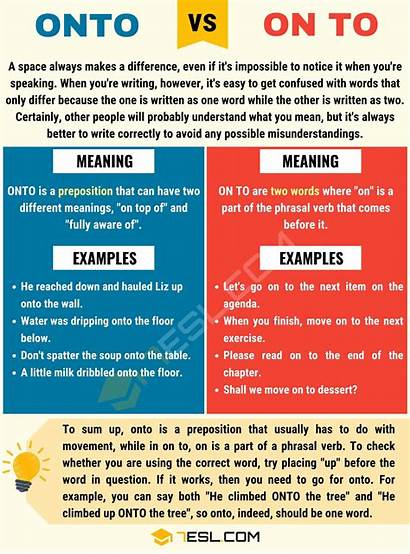 Vs Onto English Examples Grammar Difference Use