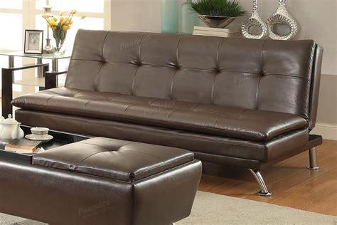Poundex Duvis F7848 Brown Leather Sofa Bed Steal A Sofa
