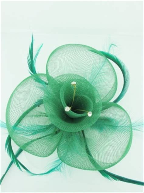 green crinoline fascinator  feathers  crystals