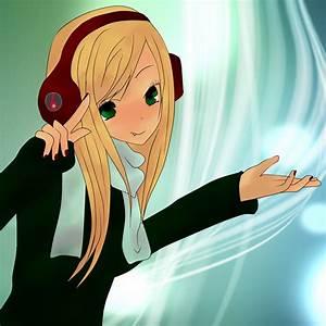 Anime girl with headphones by ApplePop410 on DeviantArt
