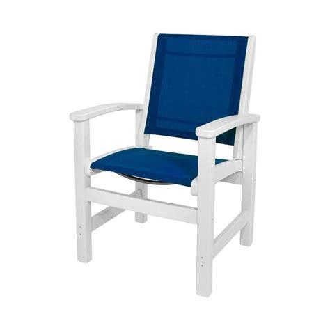 polywood white royal blue sling coastal patio dining chair