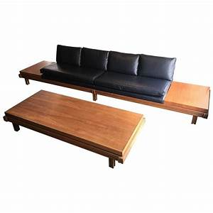 martin borenstein walnut and leather gondola sofa and With sofa table with matching coffee table