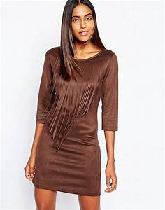 sisley sisley faux suede dress with fringing in brown at With robe marron daim
