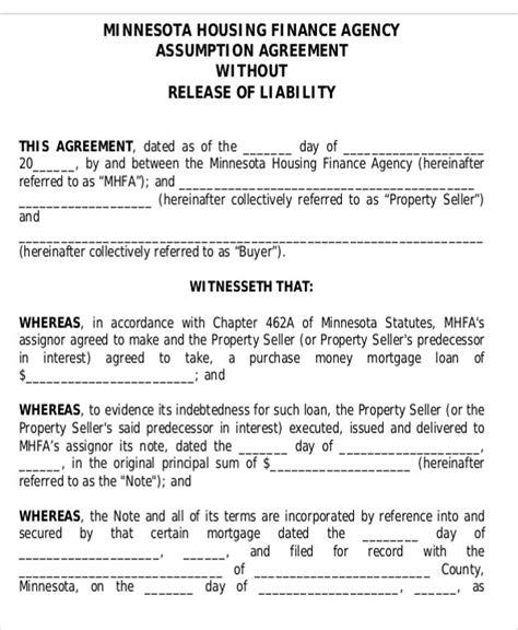 assumption agreement templates  sample