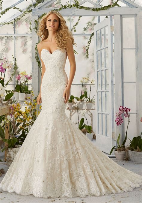 Allover Lace Mermaid Wedding Dress With Pearls Style