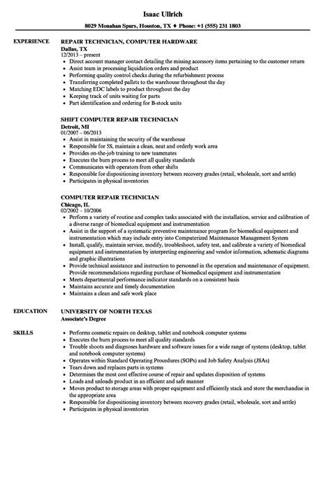 computer repair technician resume sles velvet