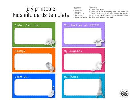 photo card maker templates diy printable kids info cards template